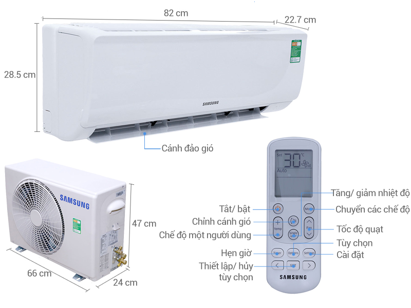 Điều hòa 1 chiều Samsung AR09MCFHAWKNSV - 9000BTU